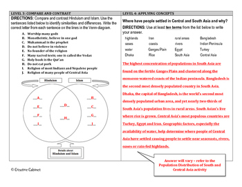 South and Central Asia (DOK) Leveled Assessment