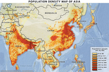 Asian population distribution
