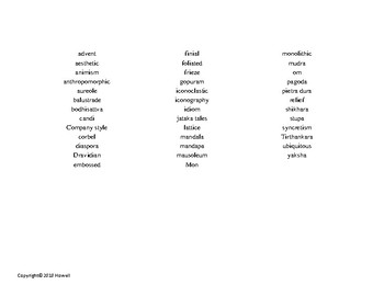 South and Southeast Asia Art Word Search for Art History Students