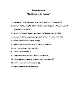 """'Southbound on the Freeway"""" Poem and Response Questions"""