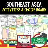 Southeast Asia Activities, Choice Board, Print & Digital, Google Geography