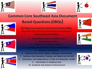 Southeast Asia Document Based Questions - 407 DBQs and 10 Different Topics!!