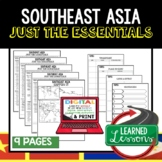 Southeast Asia Geography Outline Notes JUST THE ESSENTIALS