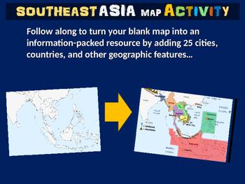 Southeast Asia Map Activity - fun, engaging, follow-along 20-slide PPT