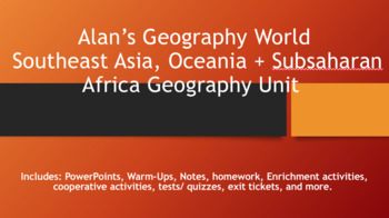 Southeast Asia, Oceania + Subsaharan Africa Geography Unit Bundle
