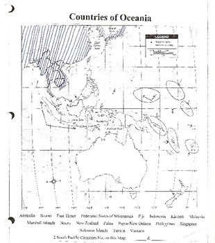 Oceania Blank Map, CW Puzzle & Test