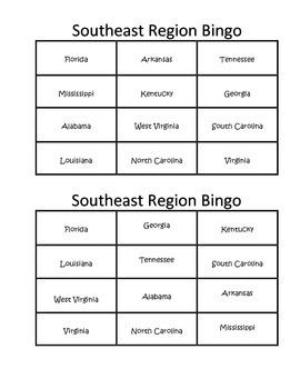 Southeast Region Bingo