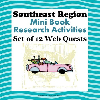 Southeast Region Bundle of 12 State Webquests Mini Book Research Activities