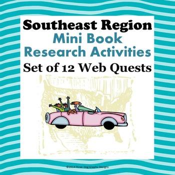 Southeast Region Bundle of 12 State Webquests Mini Book Re
