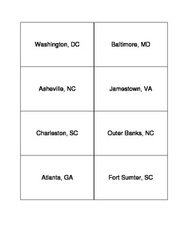 Southeast Region - Cities and Tourism Flashcards/Matching Game