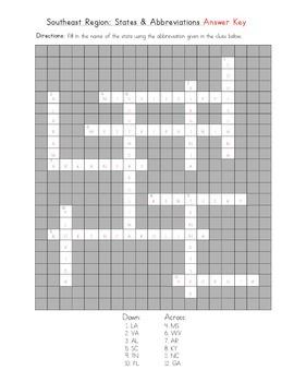 5 Regions: Southeast Crossword (State Abbreviations)