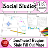 Southeast Region - Fill in State Maps of the United States