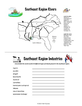 Southeast Region Mini Book Acitivities Printable Worksheets