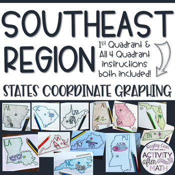 Southeast Region STATES Coordinate Graphing Pictures BUNDLE