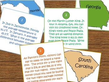 Around the States Math: Southeast Region- Place Value, Add and Subtract Decimals