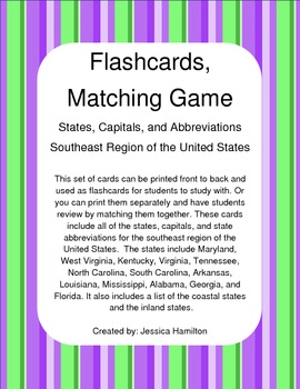 Southeast Region - State/Capital Flashcards, Matching Game
