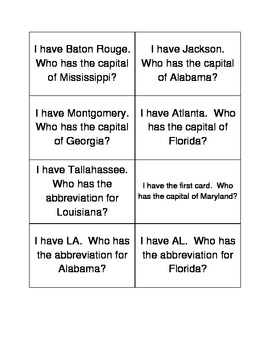 Southeast Region - State/Capitals, I Have Who Has