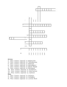 Southeast Region States and Capitals Crossword