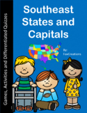 Southeast Region States and Capitals Games, Activities, & Differentiated Quizzes