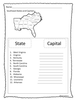 It is a graphic of Persnickety Southeast States and Capitals Quiz Printable