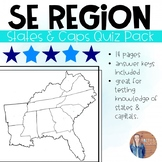Southeast Region States and Capitals Quiz Pack