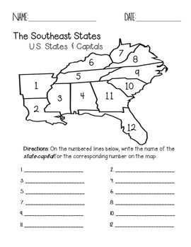 Nerdy image regarding southeast region states and capitals map printable