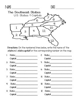 photo about Southeast States and Capitals Quiz Printable referred to as Southeast Area Suggests and Capitals Quiz Pack