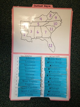 Southeast Region Study Folders-States and Capitals