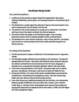 Southeast Region Study Guide