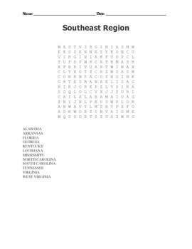 Southeast Region Test and Wordsearch