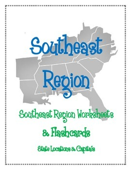 Southeast Region Worksheets and Flashcards. Matching Label Capitals and location