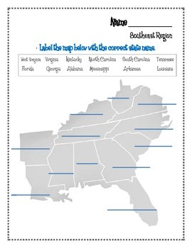 graphic relating to Southeast Region States and Capitals Map Printable titled Southeast Place Worksheets and Flashcards. Matching Label Capitals and place