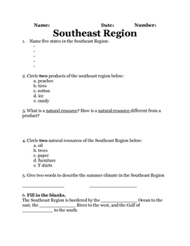 Southeast Region of the United States 2 Quiz Printable Assessment!