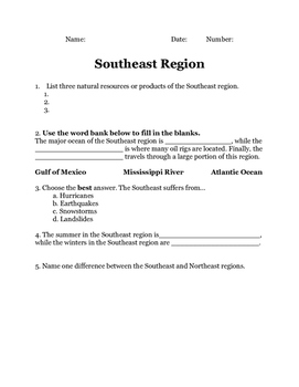 Southeast Region of the United States 2 Quiz Printable Ass