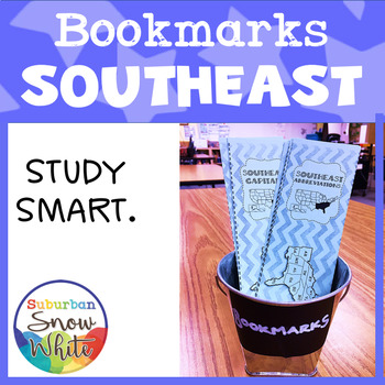 Southeast States Bookmarks with States, Capitals, and Abbreviations