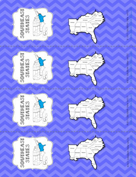Southeast United States Bookmarks with States, Capitals, and Abbreviations