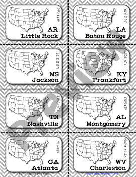 Southeast Region Map Flashcards, States, Capitals, Abbreviations {Option on