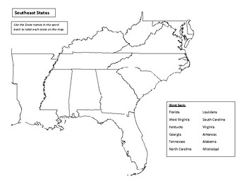 Southeast States Map Study Guide Quiz Practice Sheets Tpt