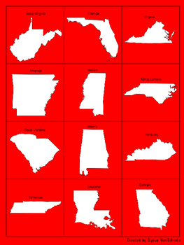 Southeast States and Capitals Memory Game