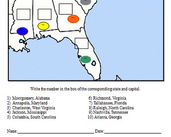 Southeast States and Capitals Modified Quiz