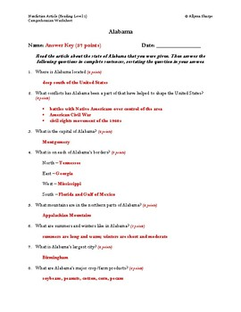 Southeast United States Articles Comprehension Worksheet Packet