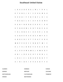Southeast United States Mapping Worksheet with Word search