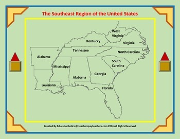Southeast United States Region Interactive Notebooks Set