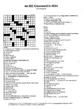 Southeastern Conference,SEC,Crossword,History,Sporting,Vocabulary,Sports