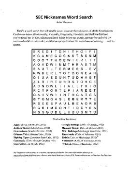 Southeastern Conference,SEC,Nicknames Word Search,Fun with a Message