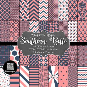12x12 Digital Paper - Color Scheme Collection: Southern Belle (600dpi)