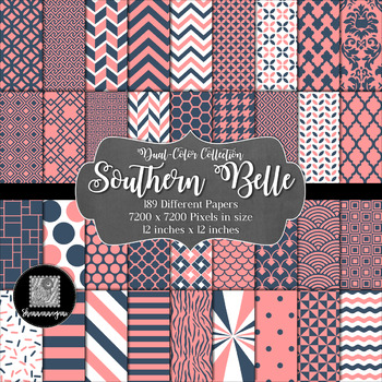 12x12 Digital Paper - Dual-Color Collection: Southern Belle
