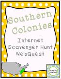 Southern Colonies Colonial America Internet Scavenger Hunt WebQuest