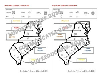 Colonial America: Southern Colonies Interactive Notebook Mapping Activity
