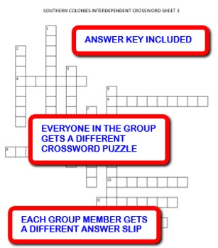 Southern Colonies: Interdependent Crossword Puzzles Activity